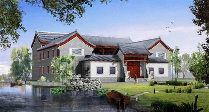 现代中式别墅装修的庭院摆置